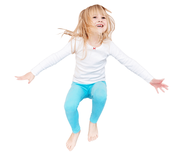 Girl jumping on the bed