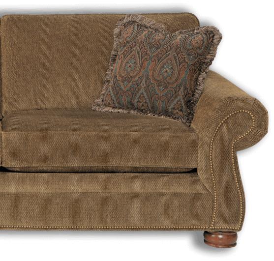 Tan sofa with trim